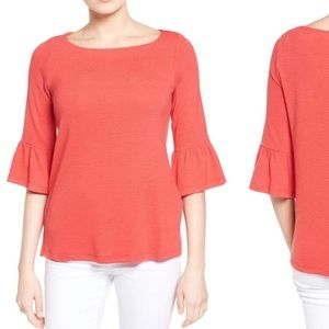 Coral Pleione Bell Sleeve top